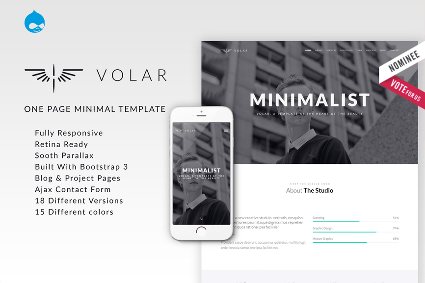 Volar One Page Minimal Parallax Drupal Theme